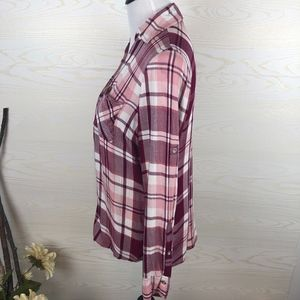 New York & Company Tops - New York & Company Pink Plaid Flannel Button Down